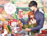 1boy 1girl belt black_hair blue_shirt blurry blurry_background bread brown_hair candy chips cup food green_jacket height_difference iji_(u_mayday) indoors jacket jewelry li_zeyan lollipop long_sleeves love_and_producer milk potato_chips protagonist_(love_and_producer) rabbit ring shirt shopping_cart spring_onion standing