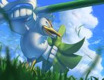bird clouds commentary_request day from_below gen_8_pokemon grass holding holding_weapon no_humans open_mouth outdoors pokemon pokemon_(creature) shield sirfetch'd sky spring_onion supearibu weapon