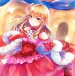 1girl ayame_(norie11) bangs bare_shoulders black_legwear blonde_hair brown_eyes closed_mouth dress feather_boa fire_emblem fire_emblem:_genealogy_of_the_holy_war fire_emblem_heroes flower frilled_dress frills gloves hair_flower hair_ornament lachesis_(fire_emblem) long_dress long_hair red_dress shiny shiny_hair smile solo