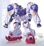 cawang character_name clenched_hands green_eyes gundam gundam_0083 gundam_gp-02_physalis highres looking_down mecha no_humans standing twitter_logo twitter_username v-fin