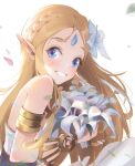 1girl bangs bare_shoulders blonde_hair blue_eyes blue_flower blush commentary_request flower forehead_jewel from_side hair_flower hair_ornament happy highres holding holding_flower jewelry long_hair looking_at_viewer miaoliangbanfan parted_bangs petals pointy_ears princess_zelda smile solo teeth the_legend_of_zelda the_legend_of_zelda:_breath_of_the_wild triforce upper_body white_background