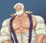 1boy abs absurdres bara beard blush bursting_pecs chest chest_tattoo drayden_(pokemon) facial_hair gym_leader highres k_sen212 looking_at_viewer male_focus manly muscle open_clothes open_shirt pectorals pokemon pokemon_(game) pokemon_bw shirt short_hair sleeves_rolled_up solo suspenders tattoo upper_body wardrobe_malfunction white_shirt yellow_eyes
