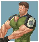 1boy absurdres bara between_pecs blue_eyes blush brown_hair bubble_tea bubble_tea_challenge chest chris_redfield covered_abs covered_navel covered_nipples cup disposable_cup drink drinking_straw facial_hair highres huge_nipples k_sen212 male_focus manly meme muscle object_on_pectorals pectorals resident_evil short_hair solo stubble upper_body