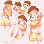 >:) 1girl animal_ears ass barefoot blonde_hair blush bunny_tail cabbie_hat chibi chikuwa_savi closed_eyes cowboy_shot crossed_legs dango eating eyebrows_visible_through_hair feet flat_cap floppy_ears food hat highres knees_together_feet_apart midriff navel orange_eyes orange_shirt pants rabbit_ears ringo_(touhou) shirt short_hair shorts simple_background sitting solo tail toes touhou wagashi yellow_pants