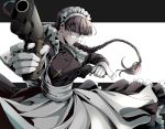 1girl apron bangs black_background black_dress black_hair black_lagoon blunt_bangs braid breasts commentary_request constricted_pupils cross cross_necklace dress finger_on_trigger foreshortening frilled_apron frills gloves jewelry large_breasts long_braid long_sleeves looking_at_viewer maid maid_headdress necklace nose roberta_(black_lagoon) round_eyewear simple_background solo tsurime twin_braids two-tone_background waist_apron white_background white_gloves wrist_cuffs yasuo_(chisyu0204)