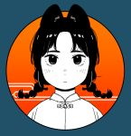 1girl :c absurdres akai_sashimi animal_ears bangs blending blue_background blush braid circle closed_mouth egasumi expressionless eyebrows frame highres looking_at_viewer low_twintails medium_hair nose_blush orange_background original outside_border parted_bangs portrait solo spot_color twin_braids twintails
