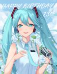 1girl :d absurdres bangs blue_eyes blue_hair blue_neckwear ching0912 collared_shirt day eyebrows_visible_through_hair floating_hair flower frilled_shirt frills hair_between_eyes hair_ornament happy_birthday hatsune_miku headphones highres holding holding_microphone_stand long_hair looking_at_viewer microphone_stand necktie open_mouth outdoors shiny shiny_hair shirt sleeveless sleeveless_shirt smile solo twintails upper_body very_long_hair vocaloid white_flower white_shirt wing_collar