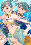 2girls :d absurdres air_bubble alternate_hairstyle aqua_hair bandeau bang_dream! bangs bare_shoulders belly_chain blurry_foreground breasts bubble card collarbone commentary_request cowboy_shot detached_collar ear_ornament ear_piercing earrings eyebrows_visible_through_hair fish green_eyes groin hair_between_eyes hamatsuka_nao head_chain highres hikawa_hina hikawa_sayo holding holding_card huge_filesize jewelry long_hair looking_at_viewer midriff multiple_girls navel one_side_up open_mouth outstretched_arms piercing shell_hair_ornament short_hair showgirl_skirt siblings sidelocks sisters small_breasts smile star_(symbol) star_earrings swept_bangs swimsuit thigh_strap twins underwater wrist_cuffs