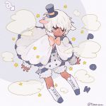 1boy animal_ears arrow_(symbol) bow bowtie capelet dark_skin double-breasted expressionless frilled_capelet frilled_sleeves frills grey_eyes hat highres horizontal_pupils huge_filesize long_sleeves orange_neckwear original pants puffy_shorts sheep_boy sheep_ears sheep_friend_(tsubaki_tsubara) shirt short_hair shorts signature sleeves_past_wrists smoke sound_effects star_(symbol) top_hat transformation tsubaki_tsubaru two-tone_background white_footwear white_hair white_pants white_shirt