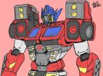1boy artist_name autobot axelnekokitty english_commentary highres looking_up mecha no_humans optimus_prime pink_background redesign solo transformers upper_body yellow_eyes