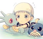 1boy :o bangs barefoot blue_eyes blue_hair blush child commentary_request crossover eyebrows_visible_through_hair flying_sweatdrops foot_up gen_1_pokemon horsea kuroko_no_basuke kuroko_tetsuya male_focus mashima_shima name_tag partially_submerged pokemon pokemon_(creature) poliwag short_hair swim_cap swimming twitter_username water younger
