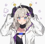 1girl aa-12_(girls_frontline) ahoge aogisa belt beret black_gloves black_shirt blue_eyes blush candy closed_mouth collarbone eyebrows_visible_through_hair food girls_frontline gloves hair_ornament hat highres holding holding_candy holding_food holding_lollipop jacket lollipop long_hair looking_at_viewer open_clothes open_jacket platinum_blonde_hair shirt simple_background solo star_(symbol) star_hair_ornament white_jacket