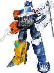 1980s_(style) absurdres autobot blue_eyes clenched_hands draconis130 english_commentary gun highres holding holding_gun holding_weapon mecha no_humans oldschool optimus_prime parody solo standing style_parody transformers transformers_energon weapon white_background
