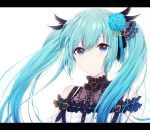 1girl bangs black_feathers black_ribbon blue_eyes blue_flower blue_hair blue_ribbon blue_rose closed_mouth eyebrows_visible_through_hair feathers floating_hair flower hair_between_eyes hair_feathers hair_flower hair_ornament hair_ribbon hatsune_miku highres long_hair looking_at_viewer ribbon rose shiny shiny_hair simple_background smile solo twintails upper_body very_long_hair vocaloid white_background yuki_(yuzuki)