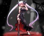 1girl ahoge alternate_hair_color arm_strap bangs bare_shoulders between_breasts black_dress black_footwear black_legwear black_ribbon borrowed_design breasts commentary_request contrapposto cross-laced_clothes dress full_body hair_between_eyes hair_ribbon halter_dress hand_up hatsune_miku high_heels long_hair looking_at_viewer medium_breasts orange_eyes purple_hair ribbon ryuu_tou shadow side_slit silver_hair single_thighhigh sleeveless sleeveless_dress solo stage_lights standing stiletto_heels thigh-highs thigh_strap twintails very_long_hair vocaloid zoom_layer