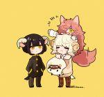 1girl 2boys animal_ears black_hair black_pants blonde_hair cat_ears cat_girl cat_tail closed_eyes collared_shirt fluffy gakuran goat_boy goat_boy_(tsubaki_tsubara) goat_ears goat_horns goat_tail horns long_hair messy_hair multiple_boys orange_hair original pants plaid plaid_pants red_cat_girl_(tsubaki_tsubara) school_uniform sheep_boy sheep_boy_(tsubaki_tsubara) sheep_ears sheep_horns sheep_tail shirt signature sweater tail tsubaki_tsubaru very_long_hair yellow_background yellow_eyes