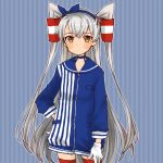1girl adapted_costume amatsukaze_(kantai_collection) blue_dress blue_sailor_collar cocoperino cowboy_shot dress gloves hair_tubes kantai_collection lawson long_hair red_legwear sailor_collar sailor_dress short_dress silver_hair single_glove smokestack_hair_ornament solo striped striped_background striped_dress thigh-highs two_side_up white_gloves windsock