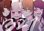 1boy 3girls :d absurdres bangs black_jacket brown_eyes brown_hair butterfly_hair_ornament chiyomaru_(yumichiyo0606) closed_mouth collarbone collared_shirt column_lineup dress_shirt eyebrows_visible_through_hair formal fox_mask fumi_(nijisanji) glowing glowing_eyes grey_hair grey_jacket gundou_mirei hair_between_eyes hair_ornament hair_over_one_eye hands_up highres jacket japanese_clothes kagami_hayato kimono long_hair long_sleeves looking_at_viewer mask mask_on_head multiple_girls naraka_(nijisanji) nijisanji open_mouth purple_hair red_eyes shirt smile suit swept_bangs thick_eyebrows upper_body virtual_youtuber white_kimono white_shirt wide_sleeves yellow_eyes