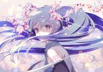 1girl aqua_eyes aqua_hair aqua_neckwear arm_tattoo bangs bare_shoulders blurry bokeh breasts character_name collared_shirt covered_mouth depth_of_field detached_sleeves floating_hair flower from_side gin_(oyoyo) grey_eyes grey_hair grey_shirt hair_flower hair_ornament hatsune_miku highres long_hair looking_at_viewer looking_back medium_breasts necktie number petals purple_hair shirt solo tattoo twintails very_long_hair vocaloid