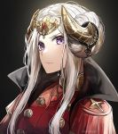 1girl absurdres artist_name breasts closed_mouth commentary edelgard_von_hresvelg epaulettes fake_horns fire_emblem fire_emblem:_three_houses gloves hair_ornament highres horns kanniiepan long_hair looking_at_viewer medium_breasts solo tears upper_body violet_eyes white_legwear