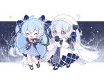 2girls :d ? ^_^ ahoge arm_up bangs bare_tree beret blue_bow blue_dress blue_eyes blue_footwear blue_gloves blue_hair blush bow braid capelet chibi closed_eyes commentary_request covered_mouth dress dual_persona eyebrows_visible_through_hair fang frilled_dress frills gloves hair_between_eyes hair_bow hair_ornament hairclip hand_up hat hatsune_miku high_heels holding_hands long_hair long_sleeves multiple_girls nishina_hima open_mouth shoes sleeves_past_wrists smile snowflake_hair_ornament star_(symbol) star_hair_ornament striped striped_bow tree twintails very_long_hair vocaloid white_capelet white_dress white_headwear wide_sleeves yuki_miku yuki_miku_(2017) yuki_miku_(2021)