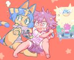 1boy 1girl animal_ears arms_up bandaid bandaid_on_face bandaid_on_nose bangs barefoot black_eyes blue_hair blue_shell blush brown_hair brown_shorts cat_ears cat_tail commentary controller doubutsu_no_mori egyptian english_commentary fang from_behind furry game_controller go_kart gold grey_shirt hair_ornament hands_up holding joy-con knee_up leaning leg_up long_sleeves mario_kart messy_hair motion_lines mushroom nile_(doubutsu_no_mori) nose_blush off_shoulder open_mouth outstretched_arms panties pawpads paws raised_eyebrow red_background shiny shiny_hair shirt short_hair short_shorts short_sleeves shorts simple_background sitting sketch slit_pupils snake_hair_ornament spikes star_(symbol) star_hair_ornament starmilk sweat tail underwear villager_(doubutsu_no_mori) white_eyes white_panties white_shirt wings