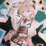 1girl :d adjusting_clothes adjusting_hair adjusting_headwear bangs blonde_hair blue_eyes blush capelet coat collared_shirt flower garter_straps hat high-waist_skirt hololive hololive_english long_sleeves looking_at_viewer lying magnifying_glass monocle nabi_(uz02) necktie on_back open_mouth plaid plaid_skirt pleated_skirt pocket_watch shirt short_hair sidelocks sitting skirt smile solo stethoscope sunflower thigh_strap virtual_youtuber watch watson_amelia white_shirt
