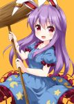 1girl animal_ears blue_dress blush cosplay crescent dress frilled_dress frills highres holding holding_mallet kine long_hair mallet open_mouth orange_background purple_hair rabbit_ears red_eyes reisen_udongein_inaba ruu_(tksymkw) seiran_(touhou) seiran_(touhou)_(cosplay) short_sleeves simple_background solo star_(symbol) touhou