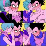 1boy 1girl age_progression amartbee artist_name black_hair blue_hair blush bulma covering_mouth crossed_arms dragon_ball dragon_ball_super dragon_ball_z earrings embarrassed eyebrows_visible_through_hair hairband hand_on_another's_shoulder headband highres husband_and_wife jewelry scarf shirtless short_hair smile spiky_hair sweat vegeta vest whispering