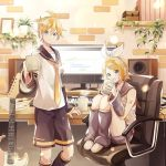 1boy 1girl arm_warmers bangs bare_shoulders bass_clef black_collar black_shorts black_sleeves blonde_hair blue_eyes book bookshelf bow brick_wall cable chair chest collar commentary computer crop_top cup desktop detached_sleeves electric_guitar guitar hair_bow hair_ornament hairclip headphones holding holding_cup indoors instrument kagamine_len kagamine_rin keyboard_(instrument) knees_up leg_warmers looking_at_viewer monitor mug nail_polish neckerchief necktie office_chair open_mouth pencil picture_frame plant potted_plant sailor_collar school_uniform sheet_music shelf shirt short_hair short_ponytail short_shorts short_sleeves shorts sitting sleeveless sleeveless_shirt smile speaker spiky_hair steam suzumi_(fallxalice) swept_bangs vocaloid white_bow white_shirt yellow_nails yellow_neckwear