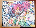 1girl animal_ears bow candy colorful curly_hair fake_animal_ears food horns lollipop original pink_eyes pink_hair pink_nails single_horn sleeves_past_wrists sparkle star_(symbol) star_eyepatch stuffed_unicorn swirl_lollipop traditional_media tsubaki_tsubaru twintails unicorn_girl_(tsubaki_tsubara)