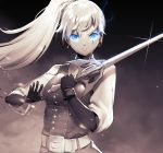 1girl bangs belt black_gloves blouse blue_eyes earrings english_commentary gloves glowing glowing_eyes high_collar high_ponytail highres holding holding_sword holding_weapon jewelry long_hair long_sleeves lulu-chan92 myrtenaster parted_lips ponytail rapier rwby scar scar_across_eye sword weapon weiss_schnee white_belt white_blouse white_hair