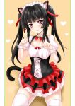 1girl alternate_costume animal_ears bangs bell black_hair blunt_bangs border breasts cat_ears cat_girl cat_tail collarbone detached_collar enmaided eyebrows_visible_through_hair hair_ribbon heart highres kemonomimi_mode layered_skirt long_hair maid miniskirt open_mouth pleated_skirt r-binon red_eyes red_ribbon red_skirt ribbon senki_zesshou_symphogear shiny shiny_hair short_sleeves sitting skirt small_breasts solo tail thigh-highs tsukuyomi_shirabe twintails very_long_hair white_border white_legwear wrist_cuffs zettai_ryouiki