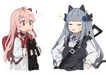! 2girls animal animal_ears backpack bag bangs black_cat blunt_bangs blush bow cat cat_ears closed_eyes commentary_request cowboy_shot facial_mark fake_animal_ears fake_tail girls_frontline hair_between_eyes hair_bow hair_ornament hairclip hexagram highres hk416_(girls_frontline) holding holding_animal holding_cat long_hair long_sleeves multiple_girls negev_(girls_frontline) open_mouth pink_hair red_bow red_eyes ribbon shirt silver_hair simple_background star_of_david surprised tail teardrop white_background white_shirt younger yuki_hotaru