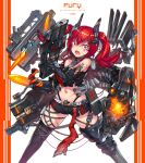 1girl angry arm_blade arm_tattoo asymmetrical_arms barcode_tattoo bare_shoulders bayonet commentary_request cyborg facial_tattoo fangs finger_on_trigger gia gun highres legs_apart looking_at_viewer mecha_musume midriff navel original prosthesis prosthetic_arm red_eyes redhead rifle scar science_fiction short_shorts shorts solo tattoo thigh-highs torn_clothes twintails uneven_eyes weapon