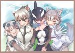 4girls aardwolf_(kemono_friends) aardwolf_ears animal_ear_fluff animal_ears arm_around_waist bangs bear_ears bear_girl black_hair blowhole border breast_pocket breasts buchibussei cheek_press closed_eyes collarbone collared_shirt covered_eyes day dog_(mixed_breed)_(kemono_friends) dog_ears dog_girl dog_tail dorsal_fin dress elbow_gloves eyebrows_visible_through_hair facing_viewer fang giant_panda_(kemono_friends) gloves grey_eyes grey_hair hair_between_eyes hair_over_eyes hand_on_another's_waist harness head_fins head_on_chest highres jacket kemono_friends leaning_to_the_side long_hair long_sleeves looking_at_viewer medium_hair mouth_drool multicolored_hair multiple_girls necktie open_mouth orca_(kemono_friends) outdoors panda_ears photo_(object) pocket sailor_collar shirt short_hair short_over_long_sleeves short_sleeves silver_hair skirt sleeping sleeveless sleeveless_shirt smile sweater_vest tail two-tone_hair upper_body white_hair wing_collar