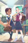 2girls absurdres alternate_costume amity_blight bag brown_hair can closed_eyes green_hair hair_ornament hairclip happy highres laughing luz_noceda min_dei_bae multiple_girls road school_bag school_uniform shoes short_ponytail sneakers socks soda_can street the_owl_house
