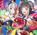 2girls :d :o admiral_graf_spee_(azur_lane) apple azur_lane balloon bangs black_hair blue_eyes blue_nails blue_neckwear bottle bow bowtie breasts cake confetti deutschland_(azur_lane) dress eyebrows_visible_through_hair food frills fruit hair_bow hat hayami_yoichi heart highres holding long_hair long_sleeves looking_at_viewer medium_breasts multicolored_hair multiple_girls nail_polish necktie one_eye_closed open_mouth party_popper raspberry redhead sailor_hat short_hair sidelocks silver_hair smile strawberry streaked_hair tart_(food) very_long_hair