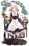 1girl apron black_dress black_footwear black_ribbon blonde_hair blue_eyes blue_flower boots breasts cup dress drinking_glass flower food frilled_apron frilled_dress frills full_body highres holding holding_tray juliet_sleeves knee_boots long_hair long_sleeves looking_at_viewer maid milk neck_ribbon nijou_katame original puffy_sleeves ribbon robot_ears short_eyebrows small_breasts solo standing teacup thick_eyebrows tray twitter_username waist_apron white_apron
