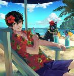 1boy 1other amamiya_ren animal atlus bangs beach black_eyes black_hair blue_shorts cat clouds collarbone collared_shirt deep_silver dress_shirt drinking_straw feline flower grin hair_between_eyes hair_flower hair_ornament hanimo0404 hawaiian_shirt hibiscus hibiscus_print highres human looking_at_viewer male_focus mammal megami_tensei morgana_(persona_5) ocean p-studio parasol persona persona_5 red_flower red_shirt sega shin_megami_tensei shirt shorts smile solo summer swim_trunks umbrella wing_collar