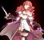 1girl aura black_gloves cape celica_(fire_emblem) dark_aura dress fingerless_gloves fire_emblem fire_emblem_echoes:_shadows_of_valentia gloves hairband holding holding_sword holding_weapon long_hair misu_kasumi parted_lips red_eyes redhead simple_background solo sword thigh-highs weapon