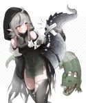 1girl absurdres ahoge arknights bare_shoulders black_dress black_legwear breasts covered_navel crocodile crocodilian crocodilian_tail detached_sleeves dress gloves goggles goggles_around_neck grey_hair highres holding_tail hood large_tail long_sleeves looking_away notice_lines parted_lips partly_fingerless_gloves pelvic_curtain pointy_ears seorang short_hair skindentation small_breasts solo sweatdrop tail thigh-highs thighs tomimi_(arknights) torn_clothes torn_legwear yellow_eyes