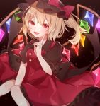 +_+ 1girl adapted_costume alternate_color between_legs black_background black_headwear black_shirt blonde_hair blush dress english_commentary eyebrows_visible_through_hair eyes_visible_through_hair fang feet_out_of_frame finger_to_cheek flandre_scarlet hair_between_eyes hand_between_legs hat hat_ribbon highres knees_together looking_at_viewer mob_cap one_side_up open_mouth petticoat pinafore_dress puffy_short_sleeves puffy_sleeves red_dress red_eyes ribbon shirt short_hair short_sleeves sitting solo symbol_commentary touhou wings yurui_tuhu