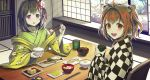 2girls :d ahoge bell black_hair blush bow bowl breakfast brown_eyes brown_hair chair checkered chopsticks commentary_request cup fish floral_print flower food green_kimono hair_bell hair_bow hair_flower hair_intakes hair_ornament hieda_no_akyuu highres holding holding_bowl holding_chopsticks holding_cup indoors japanese_clothes jchoy jingle_bell kimono long_sleeves looking_at_viewer looking_to_the_side motoori_kosuzu multiple_girls on_chair open_clothes open_mouth red_bow rice rice_bowl sitting smile table touhou touhou_lost_word upper_teeth violet_eyes white_flower wide_sleeves yunomi