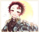 1boy checkered_jacket checkered_obi earrings facial_scar forehead_scar half-closed_eyes highres jewelry kamado_tanjirou kimetsu_no_yaiba original redhead scar smile tsubaki_tsubaru upper_body