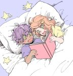1boy 1girl bed blanket book child dark_skin dark_skinned_male green_eyes hair_ornament highres leon_(pokemon) matimatio oekaki orange_hair pillow pokemon pokemon_(game) pokemon_swsh purple_hair smile sonia_(pokemon) star_(symbol) yellow_eyes younger