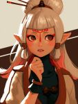 bangs beige_background bellhenge blush brown_background chopsticks eyeliner facepaint fingerless_gloves gloves hair_bun hand_on_own_chin jewelry makeup necklace pale_skin paya_(zelda) pointy_ears red_eyes shoulder_pads simple_background the_legend_of_zelda the_legend_of_zelda:_breath_of_the_wild tied_hair turtleneck updo upper_body white_hair worried