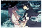 2girls akemi_homura bird black_capelet black_dress black_eyes black_hair black_hairband border capelet center_frills closed_mouth clothes_lift colored_inner_hair commentary_request covered_face crow darkness dress dutch_angle eyebrows_visible_through_hair facing_away flat_chest floating_hair frilled_capelet frilled_dress frills from_side frown funeral_dress goddess_madoka hair_over_one_eye hairband high_collar homulilly kaname_madoka layered_dress light_particles long_hair looking_at_viewer looking_to_the_side mahou_shoujo_madoka_magica mahou_shoujo_madoka_magica_movie multicolored_hair multiple_girls neck_ribbon no_nose ocean pc_(z_yu) pink_hair profile ribbon shaded_face shiny shiny_hair short_sleeves straight_hair tareme upper_body very_long_hair water waves white_border white_dress wide_sleeves