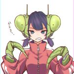 1girl animal_helmet antennae bangs blue_eyes blunt_bangs breasts character_request check_copyright chromatic_aberration clenched_teeth commentary_request copyright_request eyebrows_visible_through_hair hands_up high_collar jacket kamatpit looking_at_viewer mantis_girl mechanical_arm medium_breasts open_mouth original praying_mantis purple_hair red_jacket short_twintails simple_background solo striped_jacket teeth track_jacket translation_request twintails upper_body zipper zipper_pull_tab