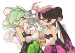 +_+ 4girls =3 aori_(splatoon) bangs black_dress black_hair black_jumpsuit blurry blurry_background brown_eyes closed_mouth collar commentary cousins detached_collar domino_mask dress earrings english_commentary feeding food food_on_head french_fries frown fume gloves gradient_hair green_hair green_legwear half-closed_eyes hime_(splatoon) holding holding_food hotaru_(splatoon) iida_(splatoon) jewelry ketchup leaning_back leaning_forward long_hair looking_at_another mask mole mole_under_eye multicolored_hair multiple_girls object_on_head open_mouth pantyhose pointy_ears purple_hair purple_legwear short_dress short_hair short_jumpsuit simple_background sitting smile splatoon_(series) splatoon_1 splatoon_2 standing strapless strapless_dress sushi sweatdrop swept_bangs tentacle_hair tied_hair very_long_hair white_background white_collar white_gloves wing_collar wong_ying_chee